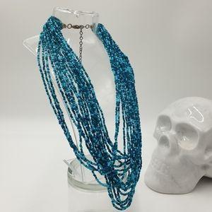 Boho Blue Beaded Multi Layer Statement Necklace Adjustable Clasp Closure
